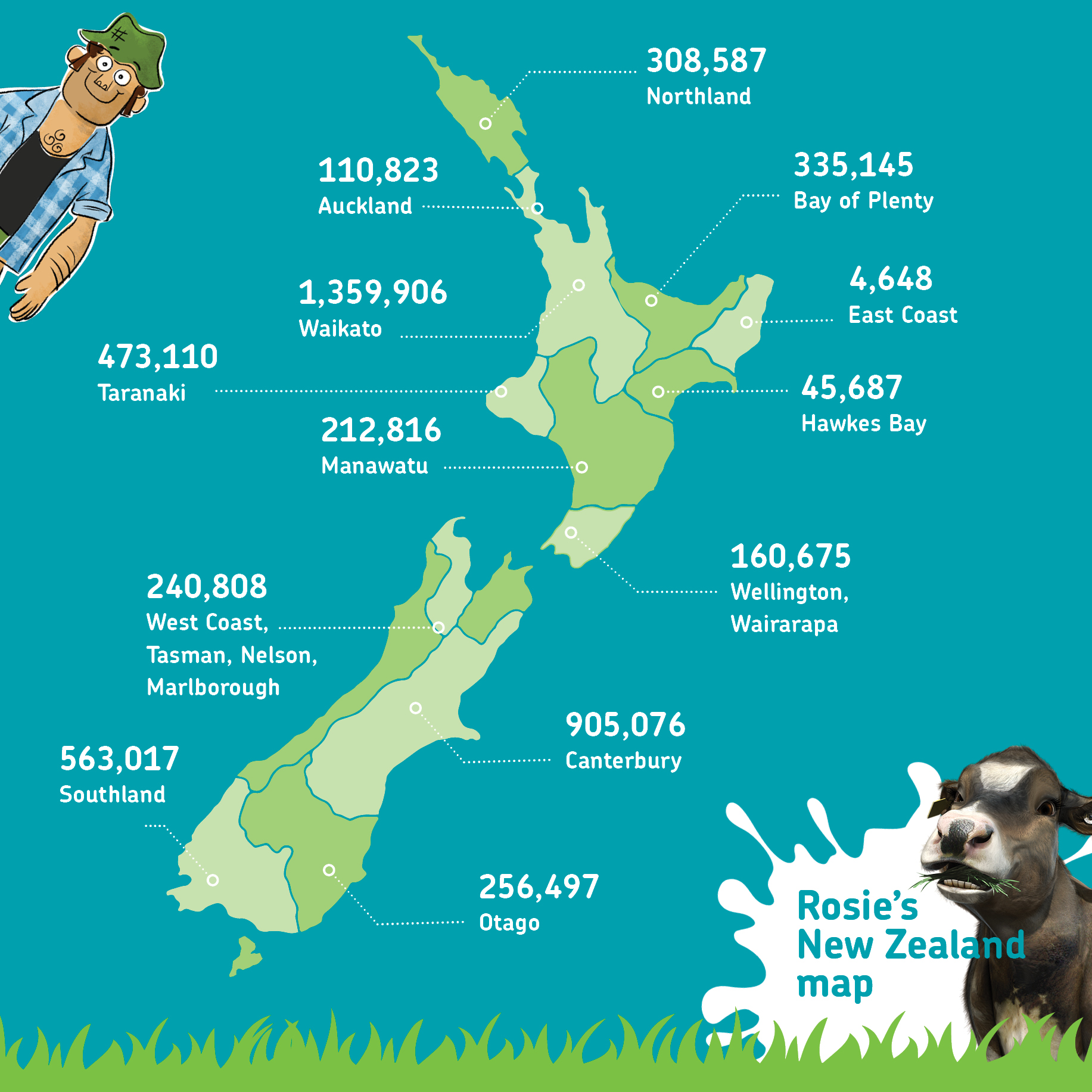 Rosies NZ How Many Cows Map